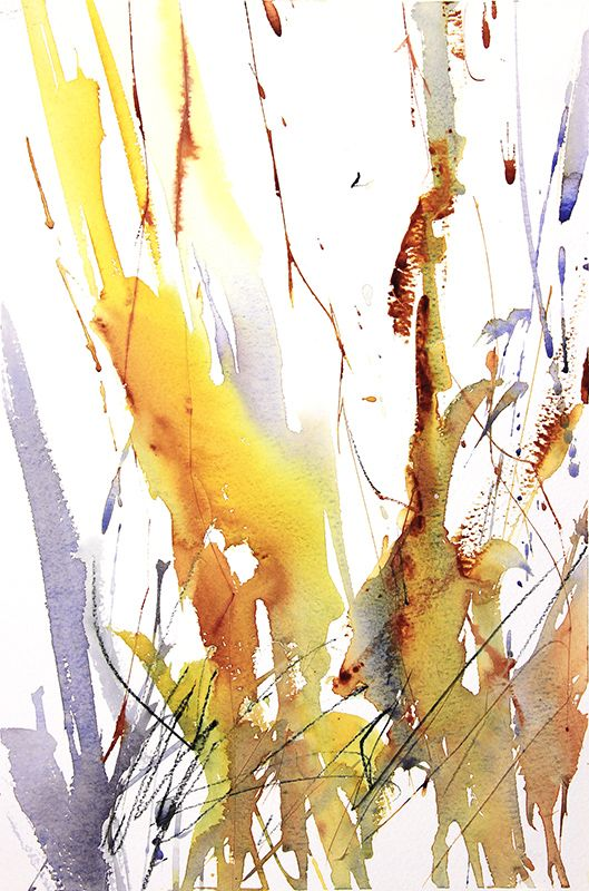 Winter Woodland Number 5 Expressive abstract watercolour by Adrian Homersham.