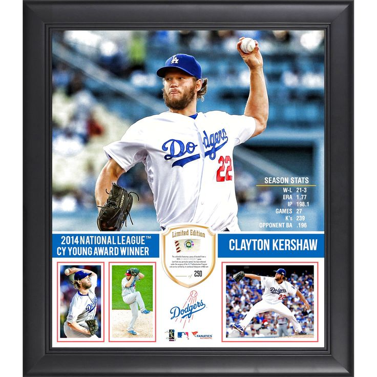 """Clayton Kershaw Los Angeles Dodgers Fanatics Authentic Framed 15"""" x 17"""" 2014 National League Cy Young Award Collage with Piece of Game-Used Baseball - Limited Edition of 250 - $71.99"""