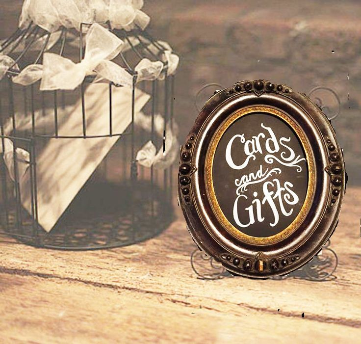 """Hand Painted chalk board like signs - """"Cards and Gifts"""""""