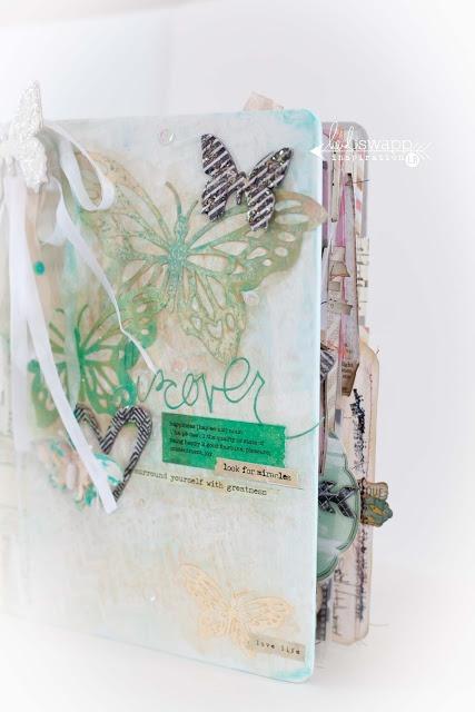 Альбомы и блокноты ручной работы в технике скрапбукинг зеленого цвета
