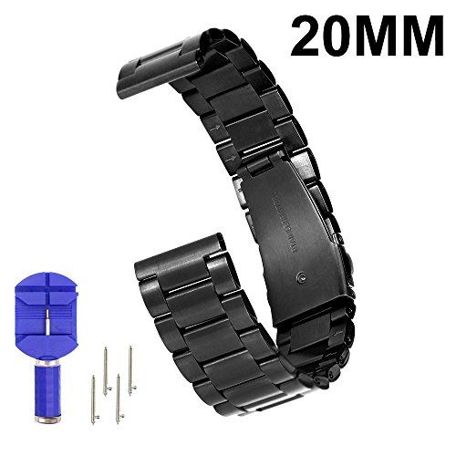 From 14.99 N.oranie 20mm Width Watch Band Stainless Steel Adjustable Strap With Arc Metal Buckle For Moto 360 2nd Gen(men's 42mm) Samsung Gear S2 Classic Huawei Watch 2 And Pebble Time Round Smartwatches (3 Pointers Style-black)