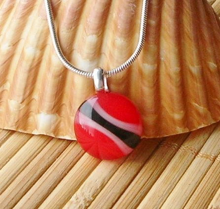 Trinidad and Tobago Flag Fused Glass Pendant by DingolayFusedGlass, $22.00