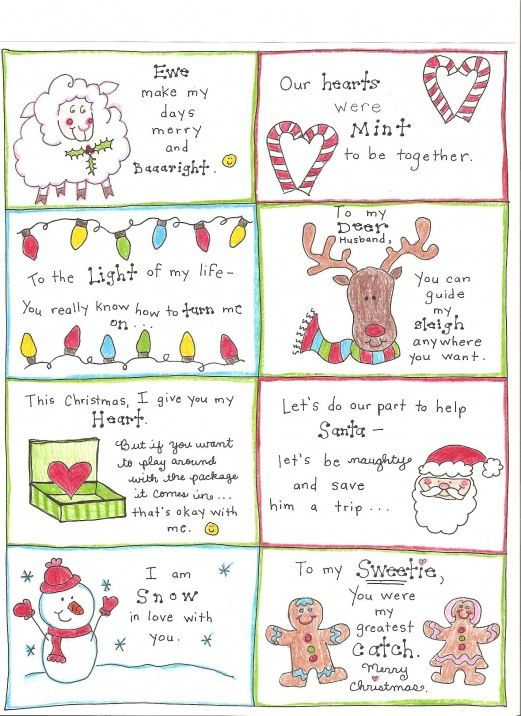 Christmas Love Notes for my hubby  :)  (Free printable)