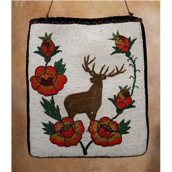 """Plateau Pictorial Beaded Flat Bag, mid-1900s Plateau Pictorial Beaded Flat Bag. 15 ¼"""" x 13 ¼"""" with front beaded panel depicting an elk standing amongst flowers. The back of the bag is black velveteen, inside lined in cotton. Circa mid-1900s. (est. $800-1,200). CONDITION REPORTS: www.auctioninsantafe.com/docs/cr2012.pdf  Sold for $600 in 2012"""