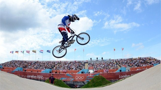 Laetitia Le Corguille of France competes during the Women's BMX Cycling on Day 12 of the London 2012 Olympic Games.