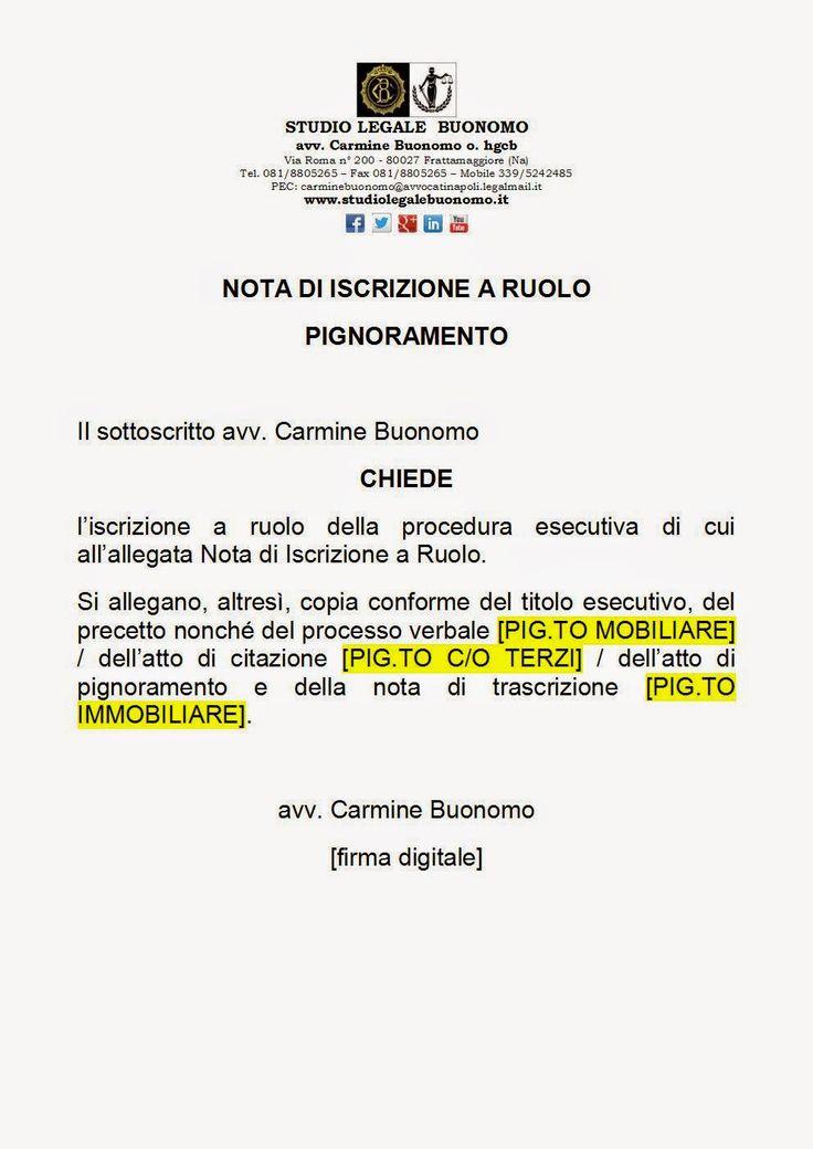 Studio Legale Buonomo (Napoli / Caserta): Facsimile nota di iscrizione a ruolo telematica pi...