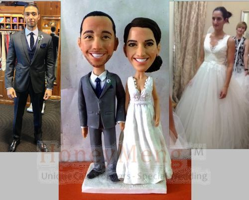 Cheap Custom wedding cake toppers head to toe personalized made from photo Unique cake topper looks like you -1437