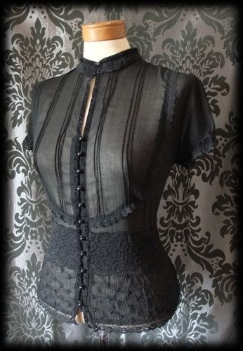 Gothic Black Sheer Lace Bib MISTRESS High Neck Blouse 14 16 Victorian Governess - £29.00
