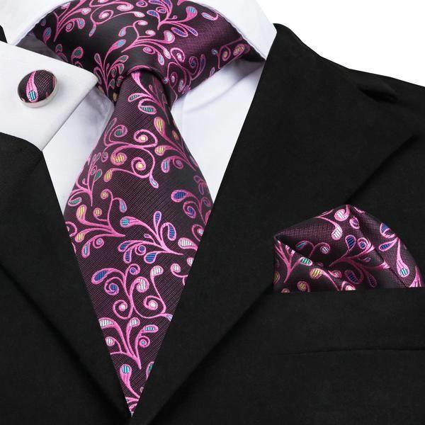 Tie Pocket Square Purple Pink Stripe Set 100/% Silk Wedding Necktie Hanky