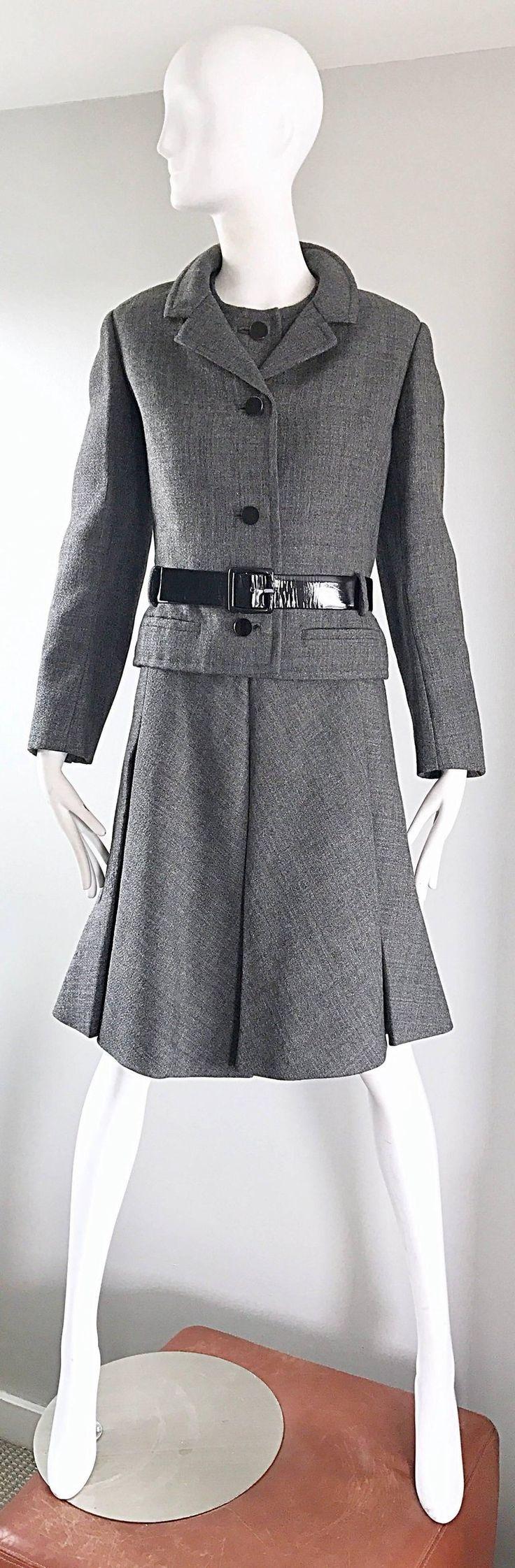 1960s Nina Ricci Haute Couture Vintage Grey Wool Dress and Jacket 60s Ensemble
