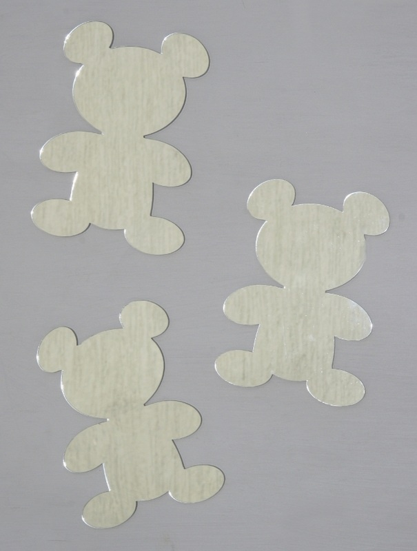 Teddy Bear set- Comes in a set of 4 acrylic mirrored teddies. 14.5 by 11cm, Available from our online store at a discounted $9.95 + postage. Cut from a 3mm acrylic - Can be hung with Blu-tack.