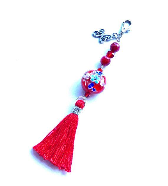 Purse charm/keychain red beaded murano stone with tassel