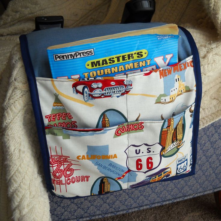 Route 66 Armchair Caddy, Remote Control Organizer, SALE by threadsofmagique on Etsy