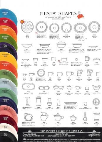 Chart of a few Fiesta Ware Colors and every Shape.