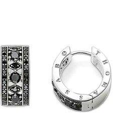 Black Cz Adorned Huggie Earring-CR575-051-11
