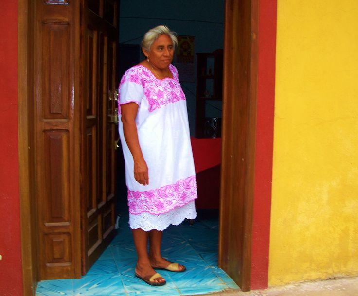 Woman in traditional Yucatan dress