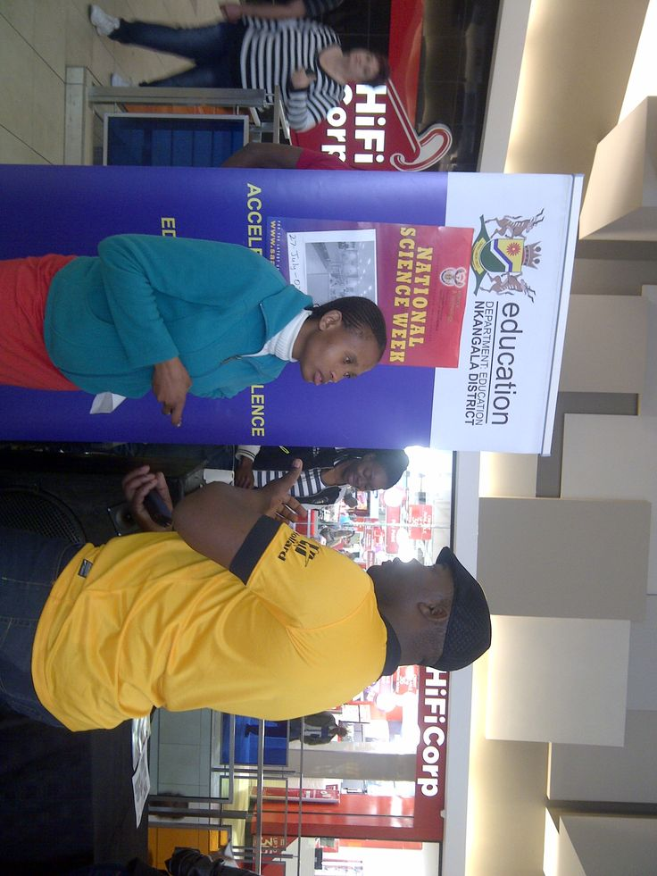 At Highveld Mall interacting with people at the mall about science.