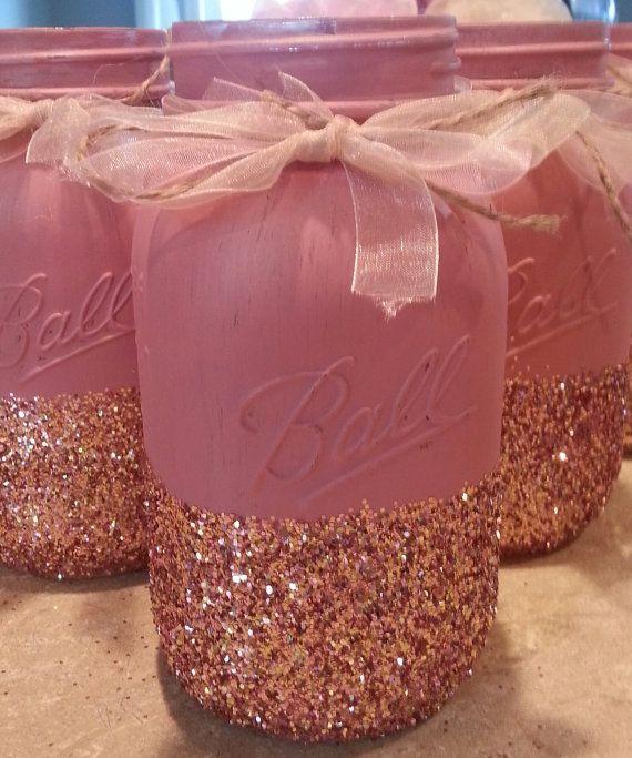 Blush and Gold Glittered Mason Jar by Jones4Blush on Etsy, $7.00