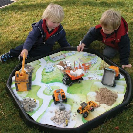 Active World Tuff Spot Tray - Builders Yard Playmat. Use this PVC waterproof play mat to place materials from the 'real world' on top of this to emulate a Builder's Yard environment. This is suited either to free play, where children explore independently or adult directed, where children are given specific tasks to undertake.