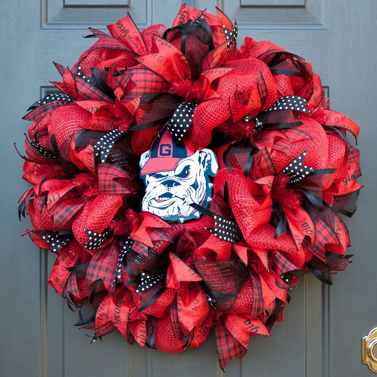 UGA Wreath, Georgia Bulldog Wreath, Go Dawgs, University of Georgia Wreath, UGA Fans, Decor Mesh Wreath, My Door Decor and Moore by MyDoorDecorandMore on Etsy