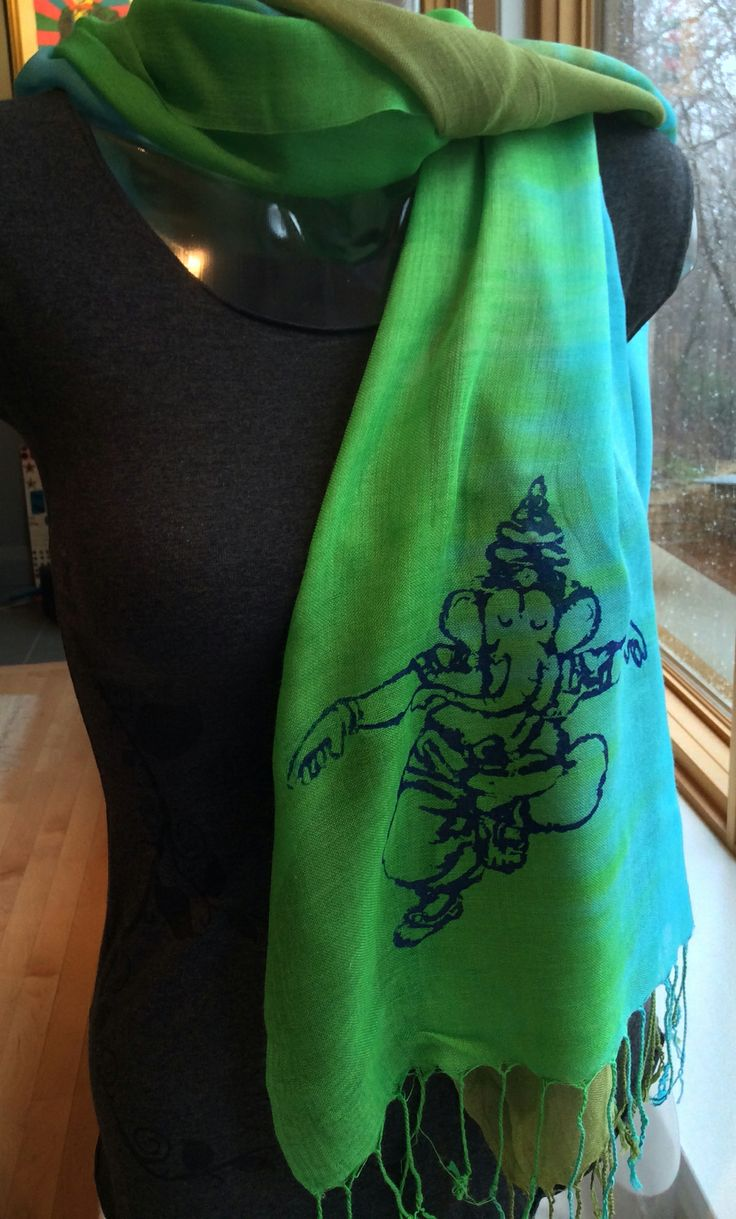 Dancing Ganesh !! Our Blue Green Hand printed Scarf. http://squeezed.ca/shop/category/scarves