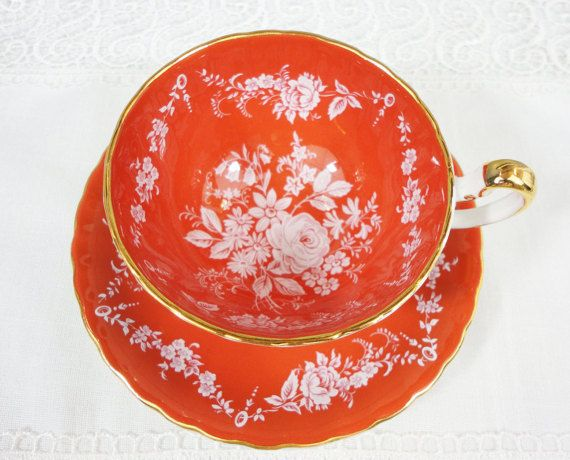 Aynsley Orange Bone China Teacup and Saucer with White Floral - Oban Shape