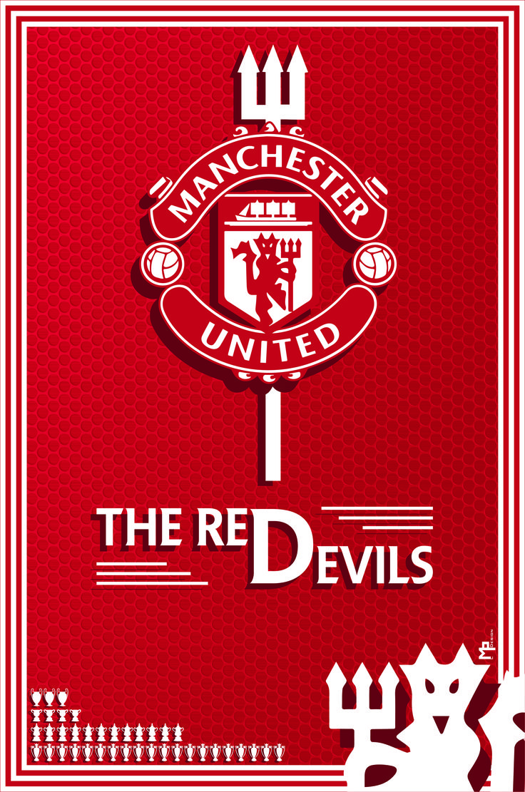 Poster Manchester United, English football team. /// Afiche del Manchester United.