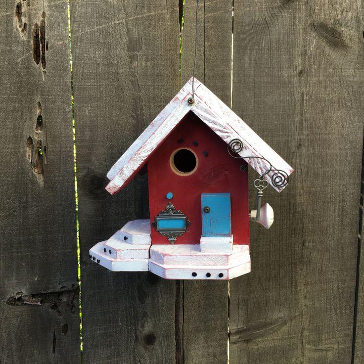 Red Farmhouse Birdhouse Cottage Chic Functional Bird's House For Birds, Custom Nest Box Garden Yard Art Birdhouses Item #486272062 by BirdhousesByMichele on Etsy
