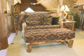 Log Loveseat Futon and Ottoman - Full Size With Cushion