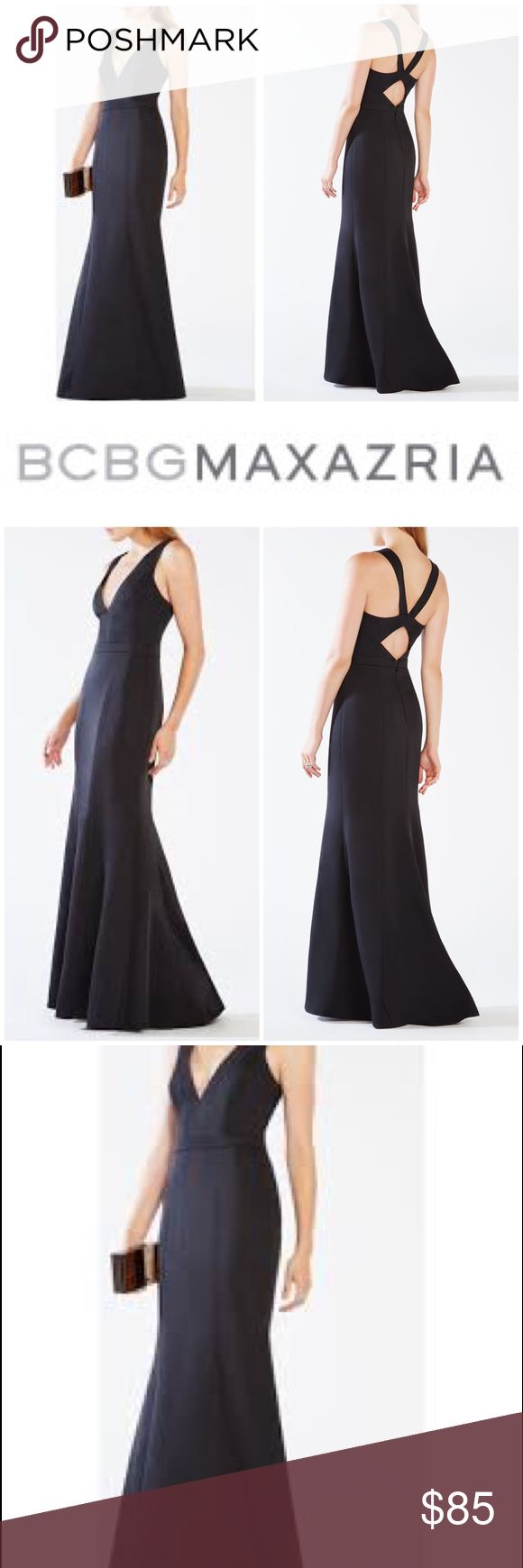 """New w/ Tags BCBG Robs Cutout Gown in Black  Size10 New with tags, bcbgmaxazria black Riva Cutout Gown - gorgeous plunge v-neck and clout back. Mid weight, true to fit.   Size 10  Bust: 38.5"""" Waist: 30.5"""" High hip: 36"""" Low hip: 41""""  Originally bought for a client, I'm currently cleaning out my client closets. Open to offers, especially on bundles. I give 15% off bundles of 3 or more. shipping cost the same if you buy one or many items. I give a free gift with every purchase! Your purchase…"""
