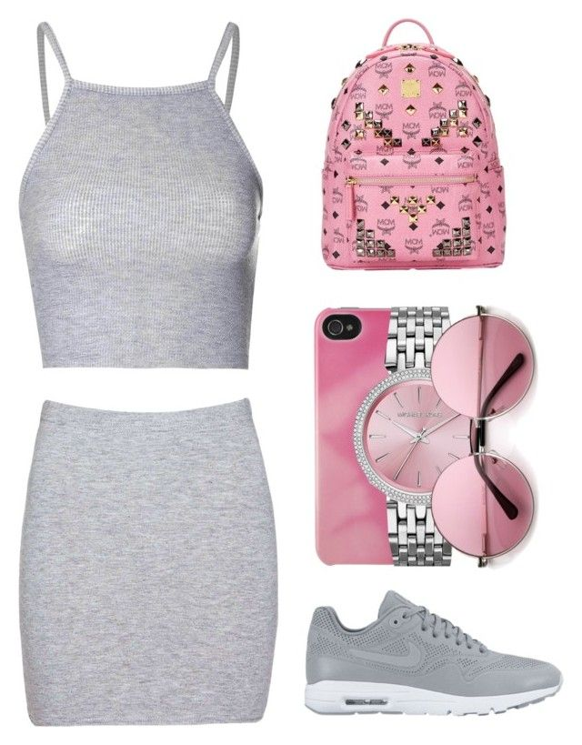 """Untitled #415"" by queenc98 ❤ liked on Polyvore featuring Glamorous, Boohoo, NIKE, Incase, MICHAEL Michael Kors and MCM"