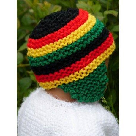 cdf3f15e1ad6 Bonnet rasta pour bébé. Bonnet naissance rasta à rayures pour bébé. Bonnet  rasta avec petites oreillettes pour bébé en laine acrylique douce   chaude.