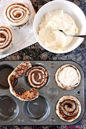 Mit Frischkäse gefüllte Zimtschalen ~ passen gekühlte Zimtschnecken in ei …