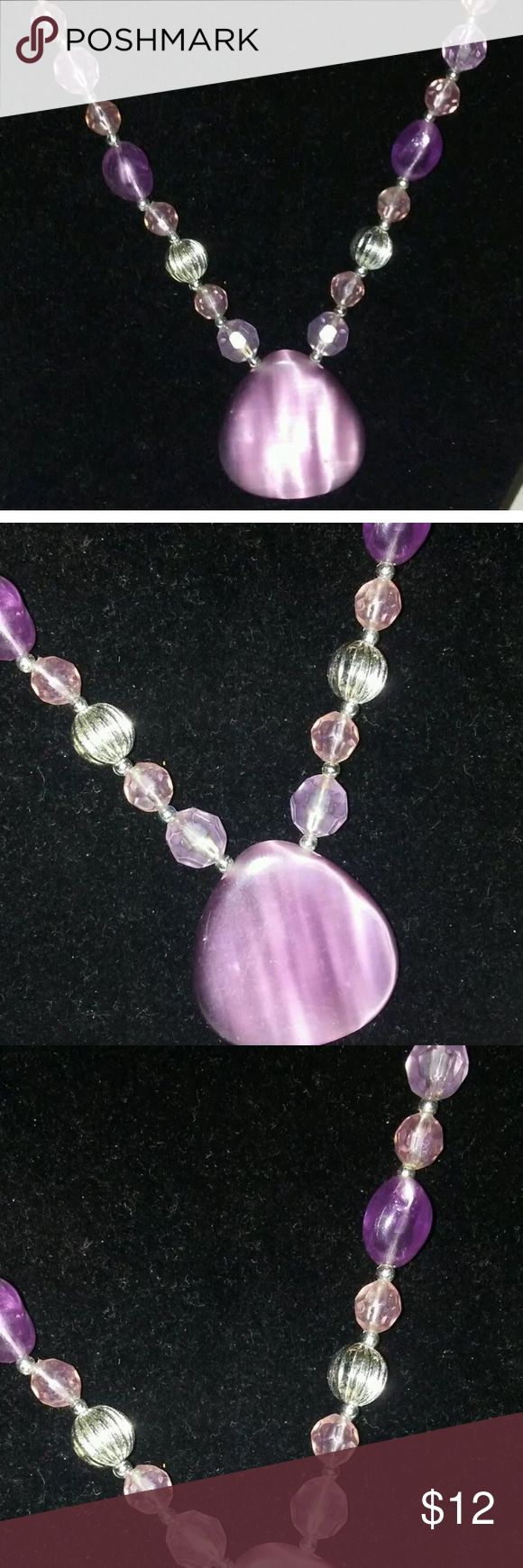 Woman's purple bead necklace with pendant 20-24 inch purple beads An necklace Jewelry Necklaces
