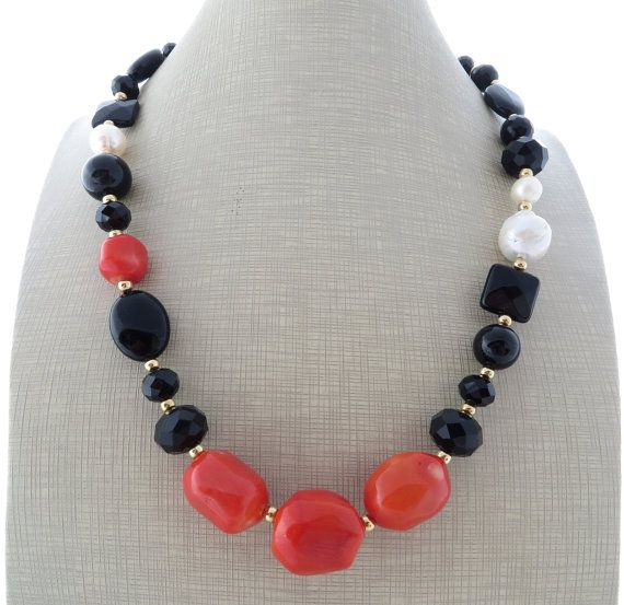 Black onyx necklace orange coral necklace chunky by Sofiasbijoux