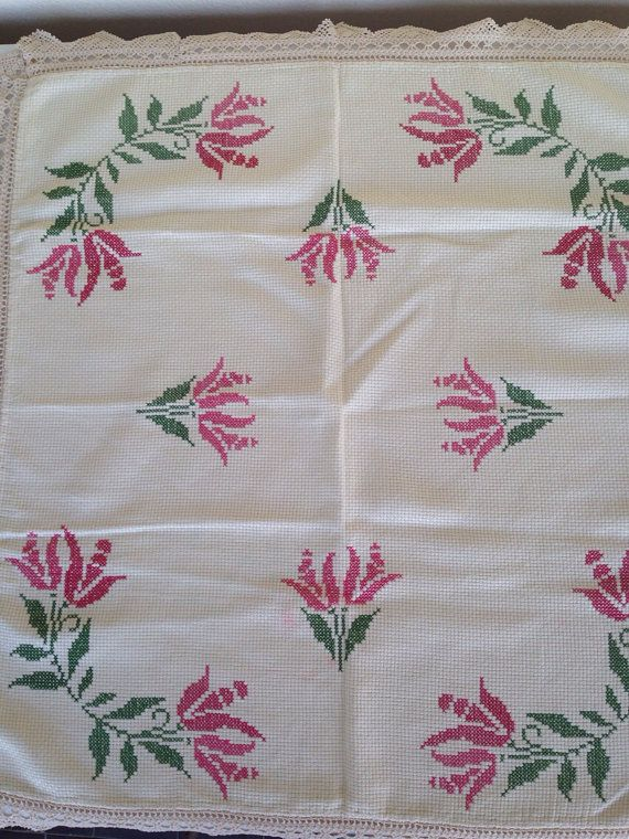 Vintage table cloth hand embroidery cross by Myfamilytreasure