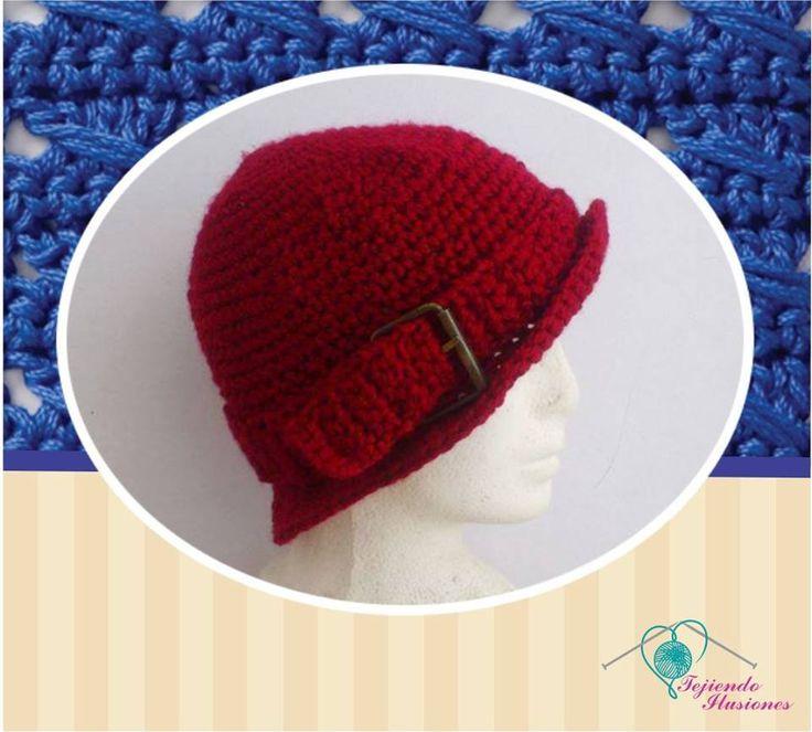 Modelo N° 91: sombrero con hebilla de cinturón, color rosjo moderno #hat #crochet  #sombrero