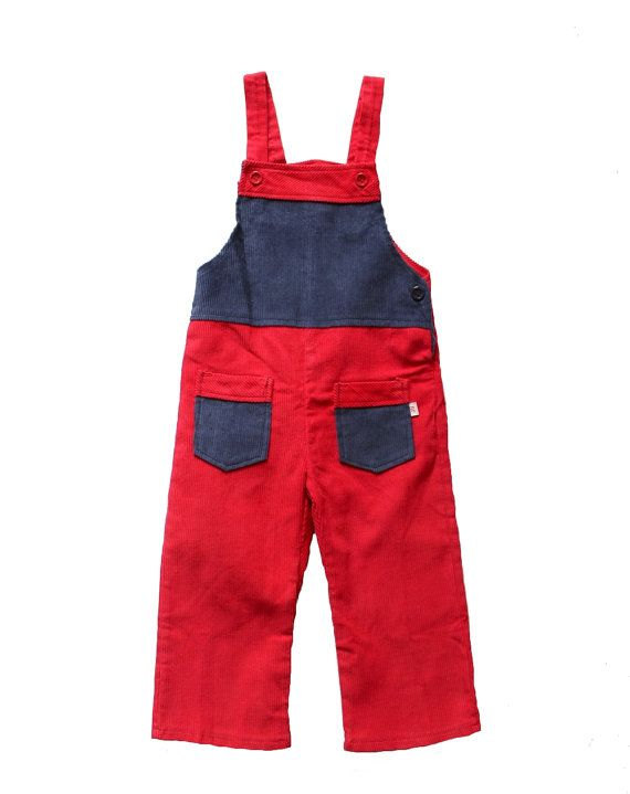 VINTAGE 70's / for kids / dungarees / overalls / corduroy / blue and red / new old stock / size 1 year