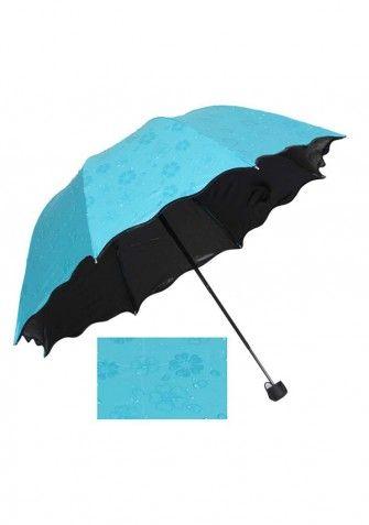 Składana parasolka, która ma specjalne właściwości. Przedmiot ten ma jednolitą barwę, jednak pod wpływem wody pojawiają się nim kwieciste wzory. Bardzo oryginalny parasol - super pomysł na praktyczny prezent!