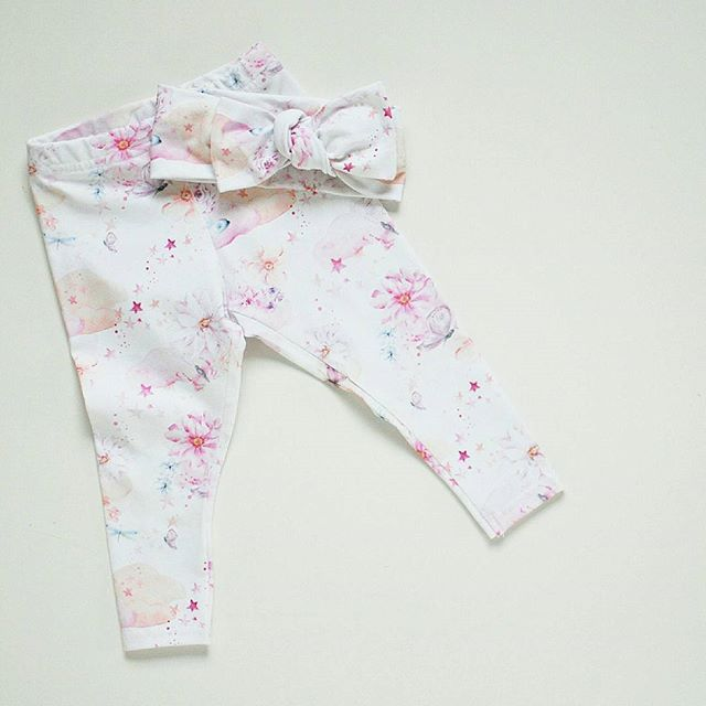Whimsical Leggings and headband set by Lulu and Milly. girls organic clothing