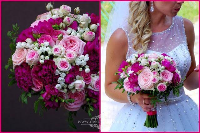 Bukiet Slubny Rozowe I Fuksja Kwiaty Frezji Roz I Gozdzika Opolskie Wedding Motifs Wedding Bouqet Pink Bouquet
