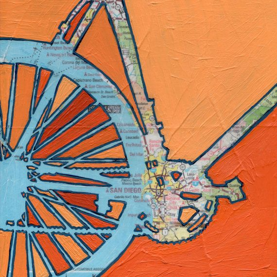 Bike San Diego-bicycle art on a vintage california by OffTheMapArt