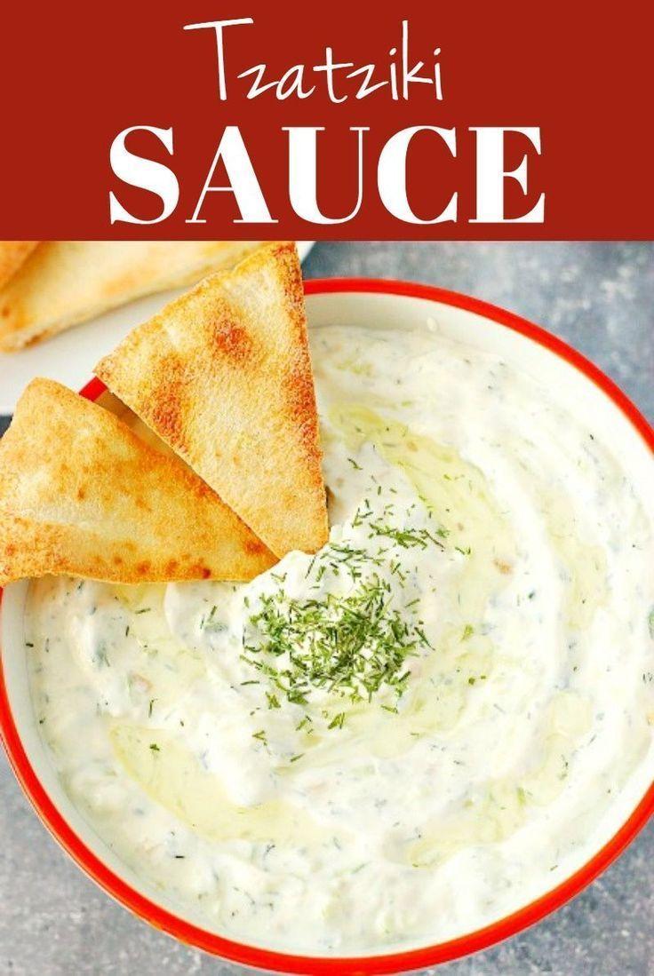 Easy Tzatziki Sauce Creamy Sauce Or Dip Made With Cucumber Garlic Dill And Greek Yogurt Or Tzatziki Sauce Recipe Sour Cream Dip Tzatziki Sauce Recipe Easy