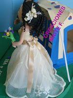 FOFUCHAS. Manualidades y Creaciones Maite: Fofucha con vestido de novia personalizada