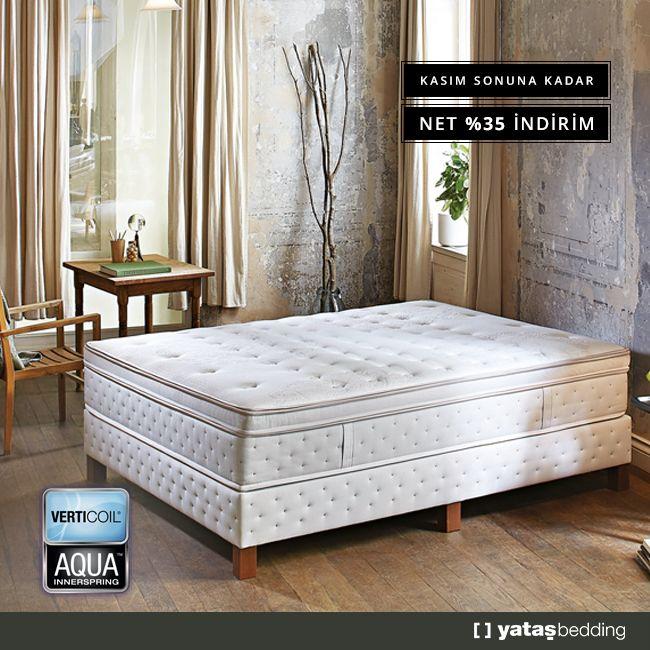Verticoil® Edge™ yay ile bel bölgesine özel destek sağlayan Verticoil Aqua yatak; çift taraflı pedi ile daha konforlu, temiz bir uyku sunar.