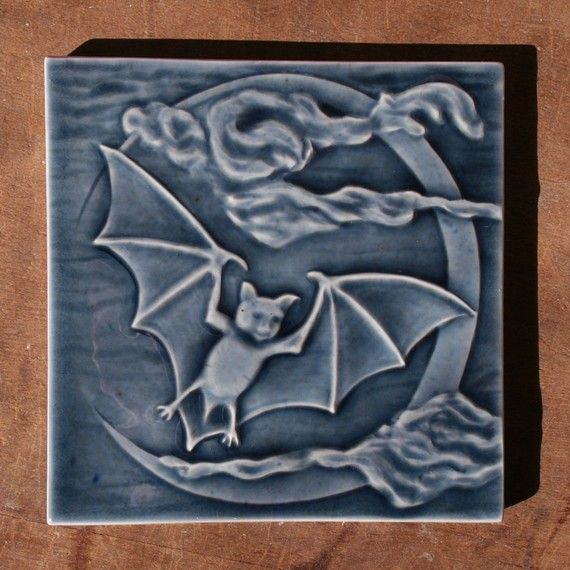 Bat Flying Past Waxing Cresent Moon Handmade Tile To Decorate Your Home