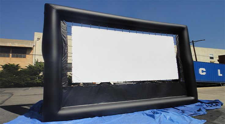 Inflatable Outdoor Giant Movie Screen. Viewing area is 14 feet 8 inches wide. Height is 8 Feet 4 inches. Rental Price is $399 plus Projector Rental $99 (3 Hour Rental)