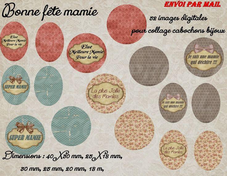 """52 images pour collage digital cabochons bijoux """"bonne fête mamie"""" ENVOI PAR MAIL - AUCUN ENVOI POSTAL : Cabochon par miss-coopecoll"""
