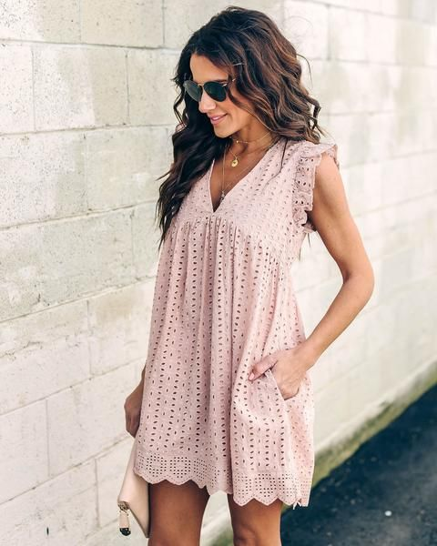 749fa129c0d Angel Babe Cotton Eyelet Pocketed Dress - Mauve in 2019