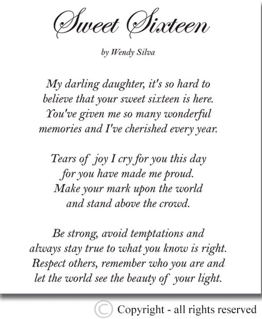 Sweet Sixteen Birthday Quotes Happy Sweet Birthday Poems